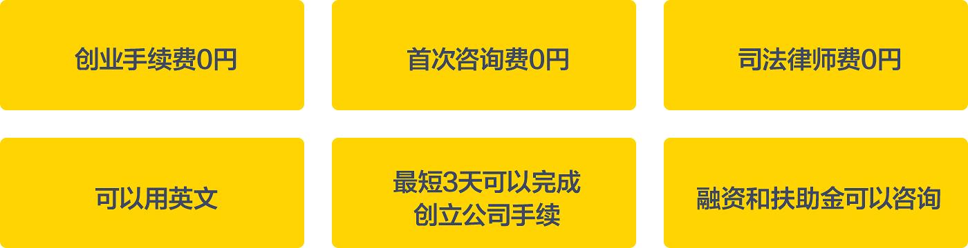 创业手续费0円、首次咨询费0円、司法律师费0円、可以用英文、最短3天可以完成创立公司手续、融资和扶助金可以咨询